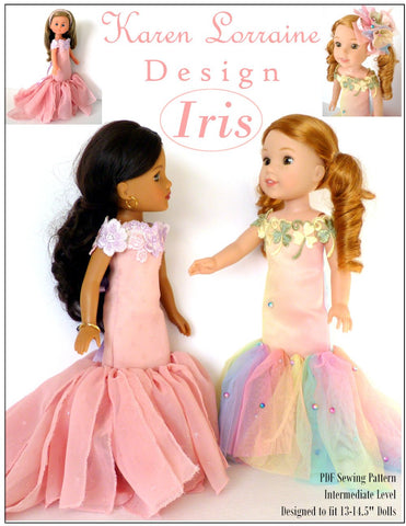 Karen Lorraine Design WellieWishers Iris Dress 13-14.5 Inch Doll Clothes Pattern Pixie Faire