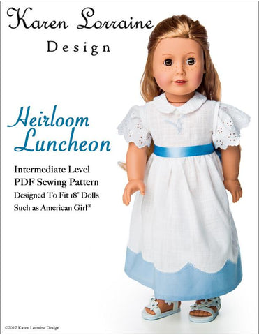 "Karen Lorraine Design 18 Inch Historical Heirloom  Luncheon 18"" Doll Clothes Pattern Pixie Faire"