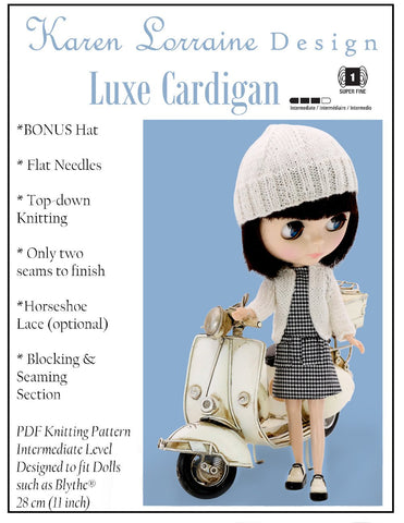 "Karen Lorraine Design Blythe/Pullip Luxe Cardigan Knitting Pattern for 12"" Blythe Dolls Pixie Faire"