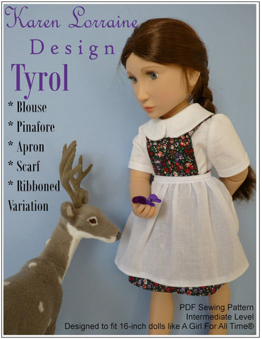 "Karen Lorraine Design A Girl For All Time Tyrol 16"" Doll Clothes Pattern For A Girl For All Time Dolls Pixie Faire"