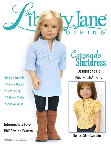 Liberty Jane Kidz n Cats Coronado Shirtdress and Top Pattern for Kidz N Cats Dolls Pixie Faire