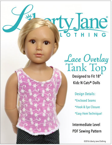 Liberty Jane Kidz n Cats Lace Overlay Tank Top Pattern For Kidz N Cats Dolls Pixie Faire