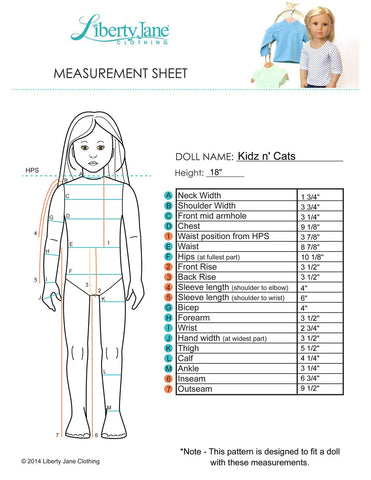 Kidz N Cats Measurement Chart