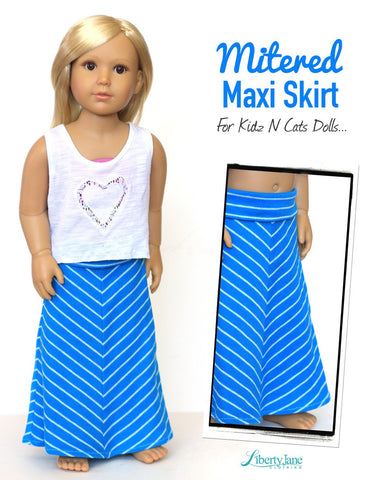 Liberty Jane Kidz n Cats Mitered Maxi Skirt Pattern for Kidz N Cats Dolls Pixie Faire