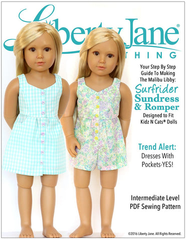 Surfrider Sundress and Romper Pattern for Kidz N Cats Dolls