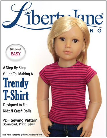Liberty Jane Kidz n Cats Free T-Shirt Pattern for Kidz N Cats Dolls Pixie Faire