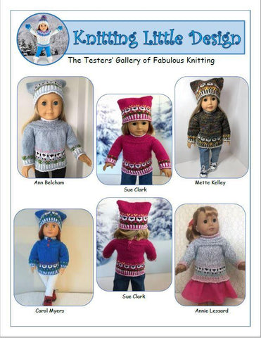 "Little Flock and Flowers 18"" Doll Clothes Knitting Pattern"