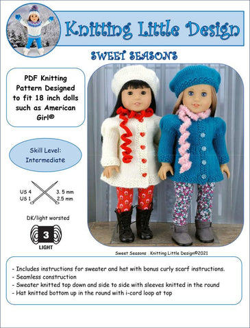 "Sweet Seasons 18"" Doll Clothes Knitting Pattern"