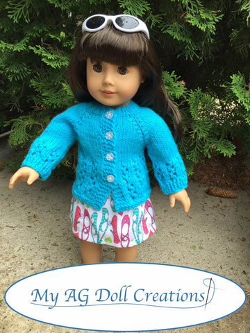 PDF doll clothes knitting pattern My AG Doll Creations Karina's Cozy Sweater designed to fit 18 inch American Girl dolls