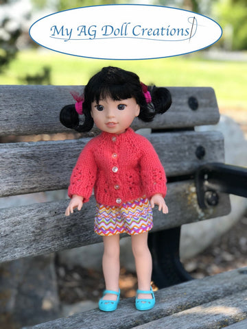 pdf knitting pattern My AG Doll Creations Karina's Cozy Sweater designed to fit 14.5 inch WellieWishers dolls
