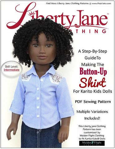 Button Up Shirt Pattern for Karito Kids Dolls