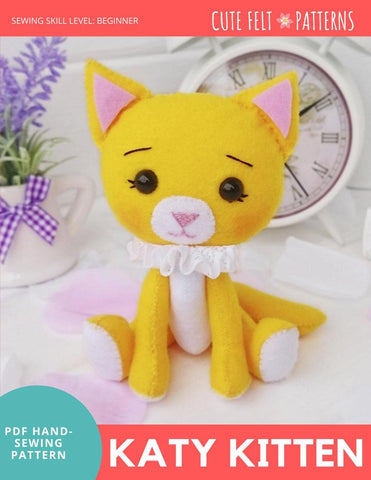 "Cute Felt Patterns Hand Sewing Katy Kitten 5"" Felt Plush Hand Sewing Pattern Pixie Faire"