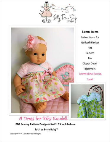 "Jelly Bean Soup Designs Bitty Baby/Twin A Dress For Baby Kendall 15"" Baby Doll Clothes Pattern Pixie Faire"