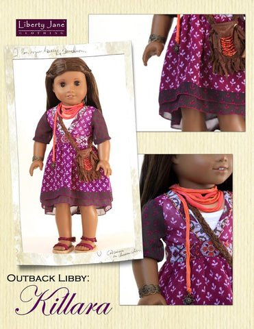 "Liberty Jane 18 Inch Modern Lightning Ridge Top and Killara Dress 18"" Doll Clothes Pattern Pixie Faire"