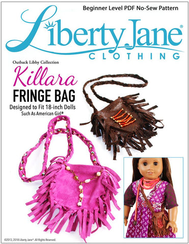 "Liberty Jane 18 Inch Modern Killara Fringe Bag 18"" Doll Accessory Pattern Pixie Faire"