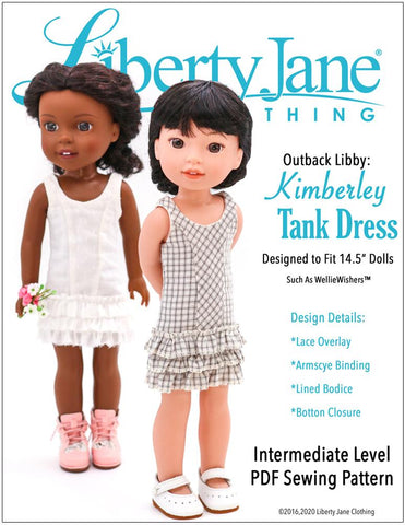 "Liberty Jane WellieWishers Kimberley Tank Dress 14.5"" Doll Clothes Pattern Pixie Faire"