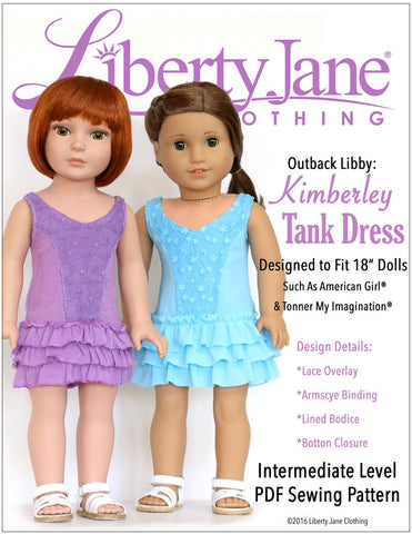 "Liberty Jane 18 Inch Modern Kimberley Tank Dress 18"" Doll Clothes Pattern Pixie Faire"