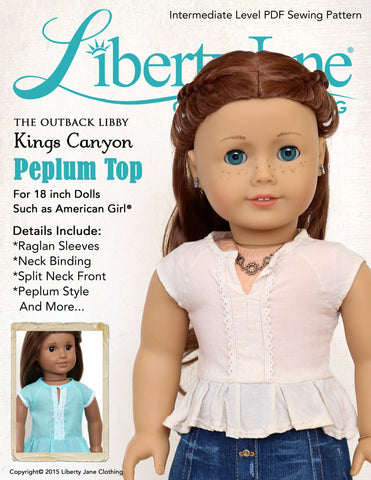 "Liberty Jane 18 Inch Modern Kings Canyon Peplum Top 18"" Doll Clothes Pattern Pixie Faire"