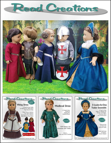 pdf crafting pattern ReadCreations knight's armor designed to fit 18 inch american girl dolls