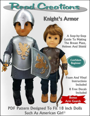 "Read Creations 18 Inch Historical Knight's Armor 18"" Doll Clothes Pattern Pixie Faire"