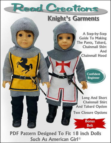 "Read Creations 18 Inch Historical Knight's Garment 18"" Doll Clothes Pattern Pixie Faire"