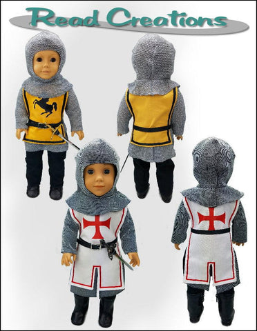 PDF doll clothes sewing pattern Read Creations medieval knight designed to fit 18 inch American Girl dolls