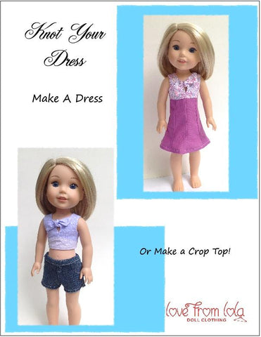 pdf doll clothes sewing pattern Love From Lola Knot Your Dress designed to fit 14.5 inch WellieWishers dolls
