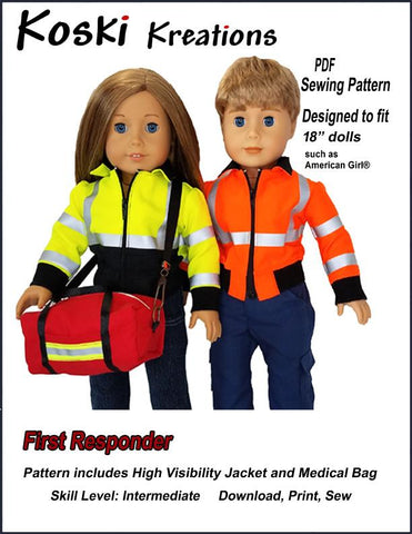 "Koski Kreations 18 Inch Modern First Responder 18"" Doll Clothes Pattern Pixie Faire"