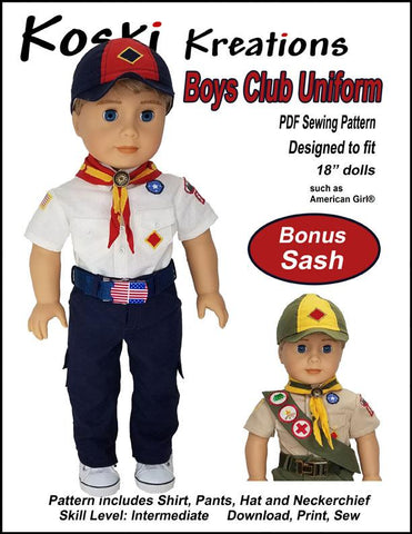 "Koski Kreations 18 Inch Modern Boys Club Uniform 18"" Doll Clothes Pattern Pixie Faire"