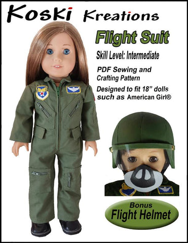 "Koski Kreations 18 Inch Modern Flight Suit 18"" Doll Clothes Pattern Pixie Faire"