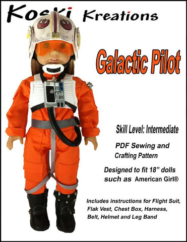 "Koski Kreations 18 Inch Modern Galactic Pilot 18"" Doll Clothes Pattern Pixie Faire"
