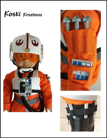 "Galactic Pilot 18"" Doll Clothes Pattern"