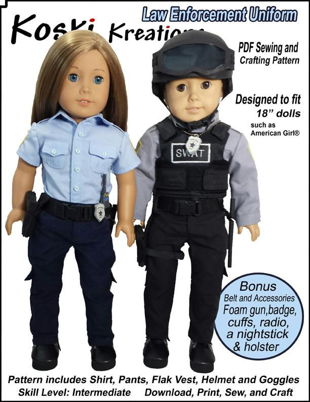 Law Enforcement Police SWAT Uniform 18 Inch doll costume Koski Kreations Sewing Pattern ...  sc 1 st  Pixie Faire & Koski Kreations Law Enforcement Uniform Doll Clothes Pattern 18 ...