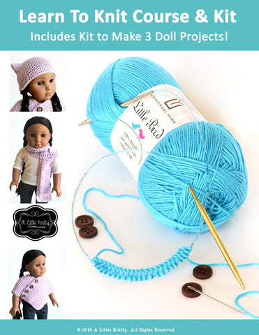 Learn To Knit Course and Kit - Blue