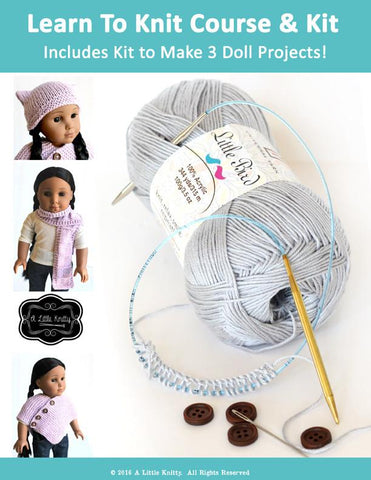 Learn To Knit Course and Kit - Grey