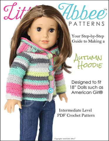 "Autumn Hoodie Crochet Pattern for 18"" Dolls"