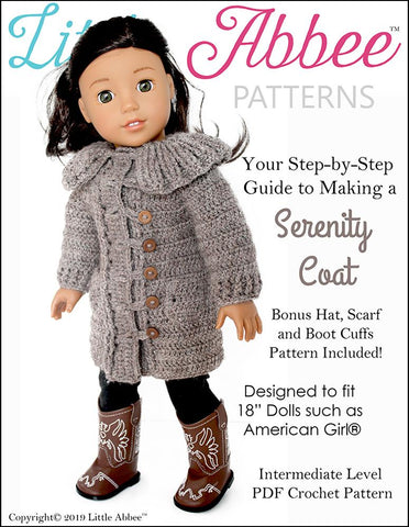 "Serenity Coat 18"" Doll Crochet Pattern"