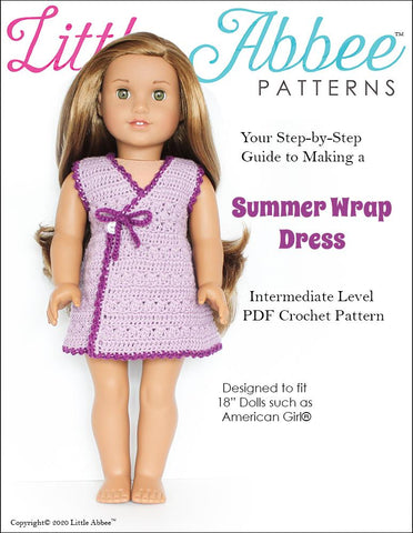 "Summer Wrap Dress 18"" Doll Clothes Crochet Pattern"