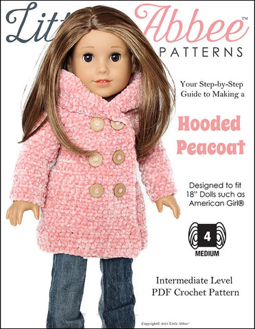 "Hooded Peacoat Crochet Pattern for 18"" Dolls"