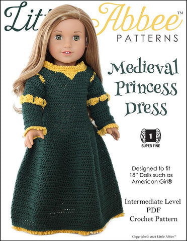"Little Abbee Crochet Medieval Princess Dress Crochet Pattern for 18"" Dolls Pixie Faire"