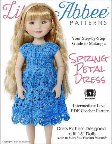 Little Abbee Ruby Red Fashion Friends Spring Petal Dress Crochet Pattern For Ruby Red Fashion Friends Dolls Pixie Faire