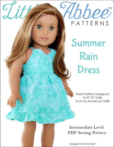 "Little Abbee 18 Inch Modern Summer Rain Dress 18"" Doll Clothes Pattern Pixie Faire"