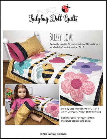 "Ladybug Doll Quilts Quilt Buzzy Love 18"" Doll Quilt Pattern Pixie Faire"