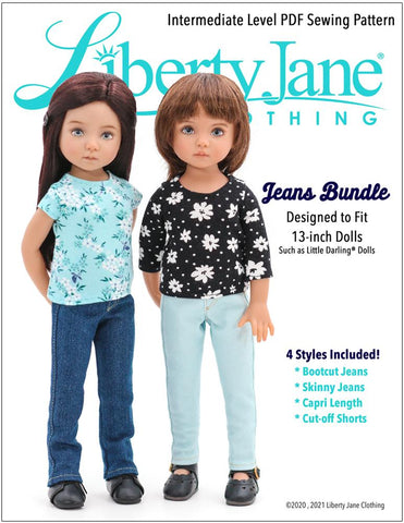 Jeans Bundle Doll Clothes Pattern For Little Darling Dolls