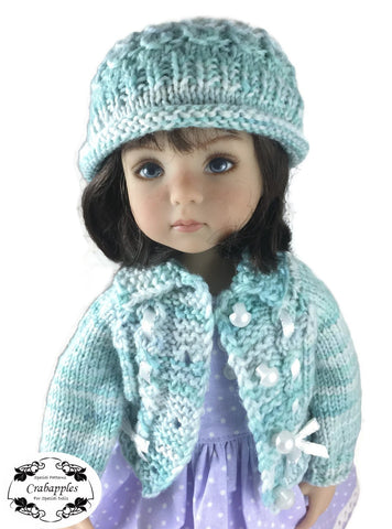 PDF knitting pattern eyelet cable cardigan designed to fit 13 inch Little Darling Dolls