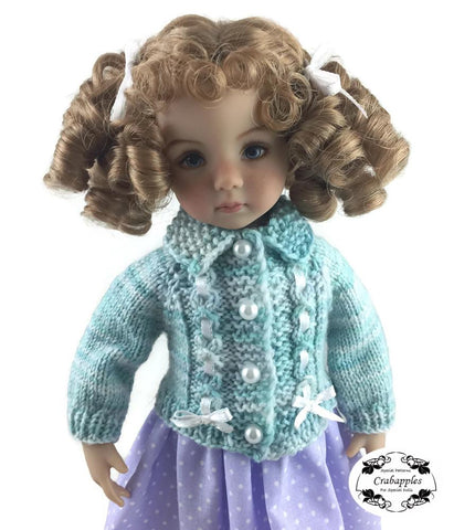 PDF doll clothes knitting pattern Crabapples eyelet cable cardigan and hat designed to fit 13 inch Little Darling dolls