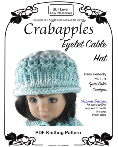 482c70e11 Eyelet Cable Hat Knitting Pattern for Little Darling Dolls