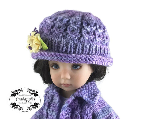 PDF Doll Clothes Knitting pattern eyelet cable hat crabapples designed to fit 13 inch Little Darling dolls