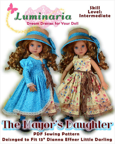 PDF sewing pattern dress coat hat stockings designed to fit Little Darling Dolls