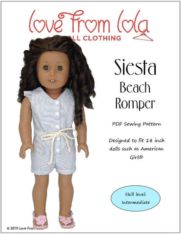 "Siesta Beach Romper 18"" Doll Clothes Pattern"
